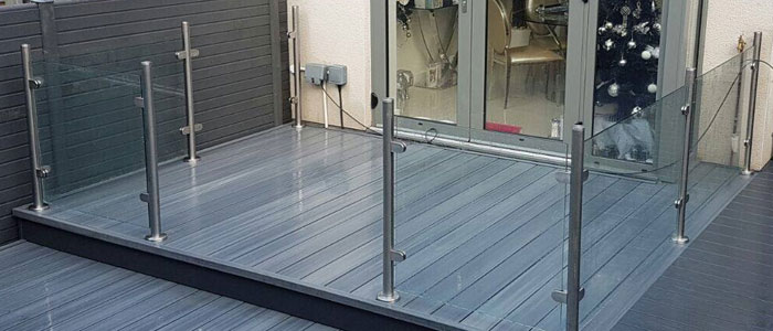 Light Grey NTW Boards Clear Glass - Stainless Steel Posts and Clamps Balustrade